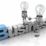 Light bulbs sitting on the word business